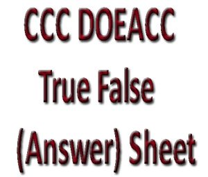 CCC DOEACC True False (Answer) Sheet in Hindi