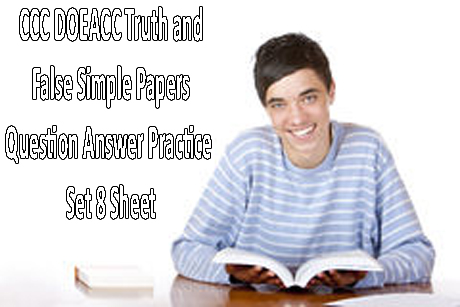 CCC DOEACC Truth and False Simple Papers Question Answer Practice Set 8 Sheet