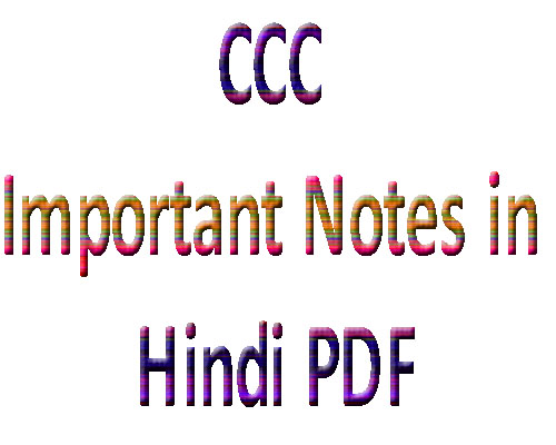 CCC Important Notes in Hindi PDF