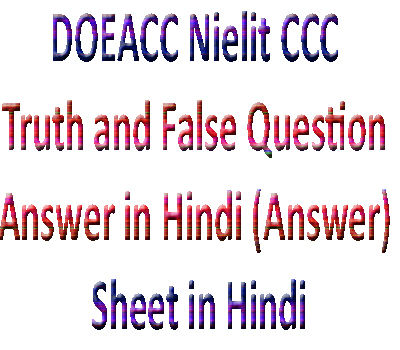 DOEACC Nielit CCC Truth and False Question Answer in Hindi (Answer) Sheet in Hindi